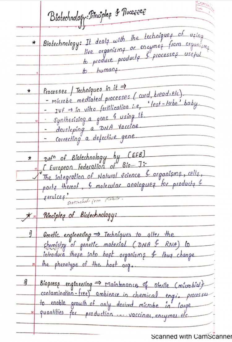 Biology Class – 12 Chapter – 11 Biotechnology: Principles & processes