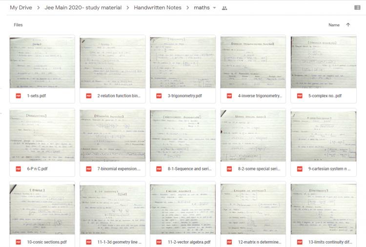 MATHEMATICS Handwritten Notes(Class 11 +12) for JEE Mains PDF