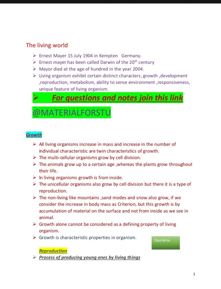 Class 11 Biology The living world Typed Notes