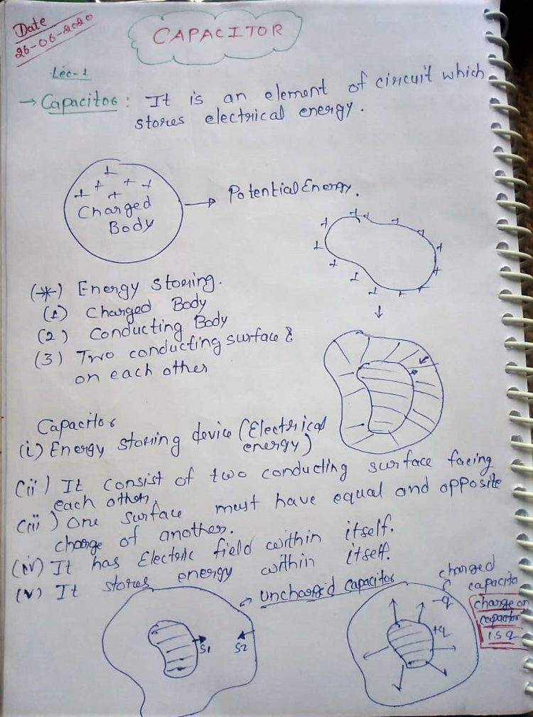 Class 12 Physics CAPACITOR NOTES for JEE